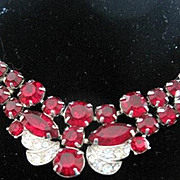 Signed vintage Eisenberg butterfly red and clear rhinestone necklace