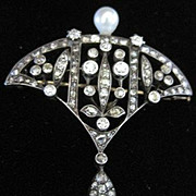 European Old World 14k yellow gold and silver setting Antique Pin with 87 diamonds and a cultured pearl with appraisal