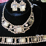 Vintage Root Beer colored rhinestone parure necklace, clip earrings and bracelet