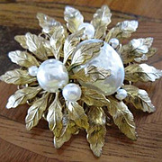 Signed Miriam Haskell multi imitation pearl floral pin