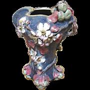 Wonderful Organic Austrian Amphora tall vase with an Apple Blossom theme