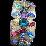 Opulent Jewel studded Vintage Costume jewelry hinged cuff bracelet