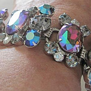 Verified Juliana richly colored watermelon and grey rhinestone bracelet with rhodium plate and safety chain