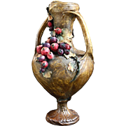 "Fabulous Austrian Amphora vase 15"" tall with applied berries and leaves cascading down the front"