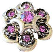 Vintage dome shaped gold filled round pin with fuchsia rhinestones