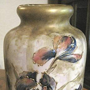 Signed RSTK Austrian AMPHORA vase with raised irises