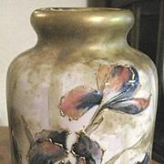 Signed RSTK Austrian AMPHORA vase with raised irises