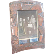 Rare historical referenced copper picture frame with raised ships, multi country flags and early biplanes