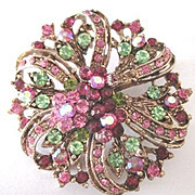 Pink and green rhinestone round costume jewelry pin