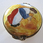 Vintage French Limoges wheat gatherer box signed Limoges France decor Main Richard