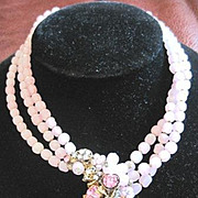 Perfect in Pink DeMario New York multi strand necklace with decorative glass and rhinestone cluster in front