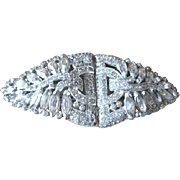 Early Trifari rhinestone clip mate set that can be a single pin or a pair of dress clips Circa 1936-1938