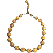Nice strand of Murano butterscotch and gold fleck glass beads from Venice Italy