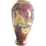 "Vintage Carlton Ware 10 1/2"" tall HUMMINGBIRD themed rouge and applied gold Vase heavily decorated"