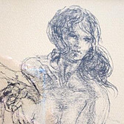 Boudoir pencil sketch of a nude young woman reclining in a chaise lounge
