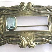 Beautiful Art Nouveau Czech sash pin with rectangular aqua glass stone decoration