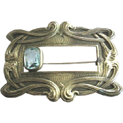 Beautiful Art Nouveau Czech sash pin with rectangular aqua glass stone decoration