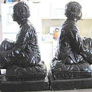 RARE Bronzed chalk Chinese maiden BOOKENDS signed by Leon Fighiera (1881-1938)