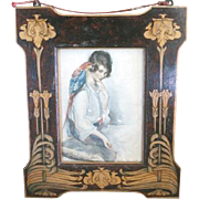 Fabulous Art Nouveau FRAME made of inlaid fruit woods in a floral motif currently framing a lady with a Parrot