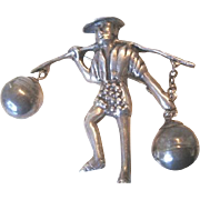 Signed Silver Mexico figural Chinese Man Pin with dangling round baskets over his shoulders on a stick
