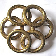 Victorian entwined textured gold plated circles pin