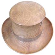 Lathe turned Black Locust all burl wood top hat by artist Johanna Michelson Circa 1994