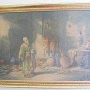 Murky Orientalist Interior print of a Pewabic pottery merchant by Douglas Arthur Teed 1864-1929