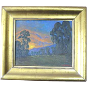 Dan Persinger signed landscape oil painting of a sunset over a hillside of Eucalyptus groves