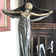 Art Nouveau bronze lamp in the form of a semi nude maiden called Tabatier by Paul Francois Louchet 1854-1936