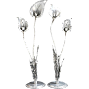 Art Nouveau pair of pewter handhammered candlesticks signed Nekrassoff made in the form of tall calla lilys