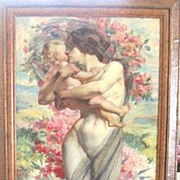 Large antique Art Nouveau painting of a Mother and Baby by French Painter Antoine Daens 1871-1946