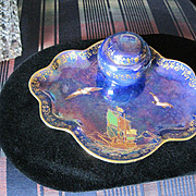 Devon Lusterine Royal George porcelain inkwell with glass insert and cover Stoke on Trent England