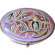 Art Nouveau Lavender oval porcelain jewel box with decorative enameled top