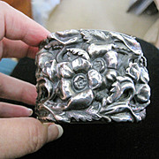 Vintage costume jewelry Wide repousse silverplate floral cuff bangle bracelet
