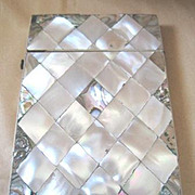 Victorian calling card case with hinged top made with Mother of Pearl and abalone shell