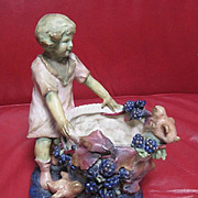 Antique Austrian Amphora planter featuring a little girl in a blueberry patch with Baby chicks