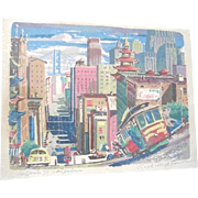 Ralph Matson colorful Serigraph of scenic California Street cityscape of San Francisco with Cable car