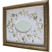 Art Nouveau embroidered white wild roses on linen mat. Ready for your photo. Set in a gold wood frame.