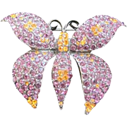 Signed Weiss costume jewelry purple rhinestone butterfly pin with orange accents by Weiss
