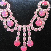 Vintage all rhinestone pink necklace with dangle in the front