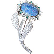 Large vintage rhinestone flower pin with simulated opal center