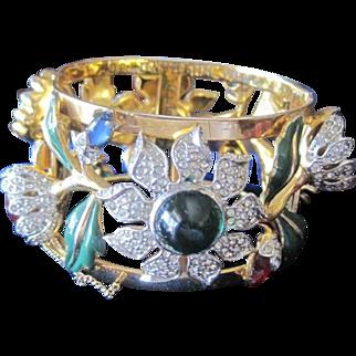 Coro Carmen Miranda Floral Jeweled & Enamel CUFF Bracelet by Adolph Katz