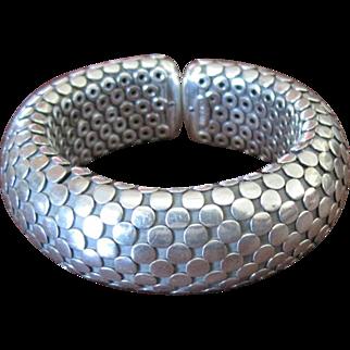Sterling snake skin textured vintage cuff style bracelet