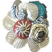Vintage MIRIAM HASKELL floral and leaf pin with embellishments