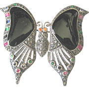 Marcasite sterling butterfly pin set with onyx and rhinestones of assorted varieties