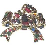Hollycraft 1957 gold plate multicolor rhinestone bow pin