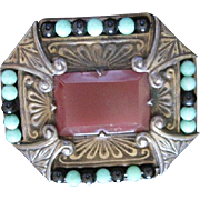 Czech Art Deco Glass on brass pin with carnelian center