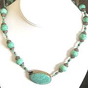 Czech mottled green glass beaded Art Deco on brass necklace