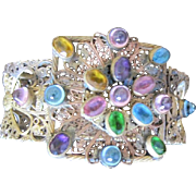 Czech filagree and bezel set jeweled bangle bracelet