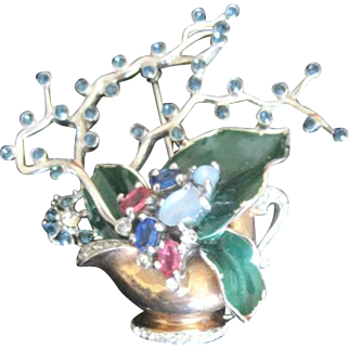 Amazing and rare: vintage Reja Sterling Gardenesque enamel and jeweled vase pin
